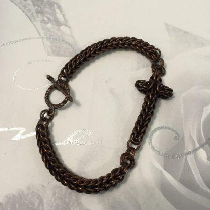 Antique Copper Cross Bracelet