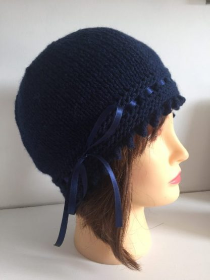 Navy blue gatsby knit hat