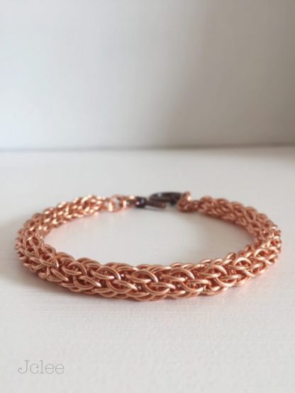 Copper chainmaille bracelet candy cane cord