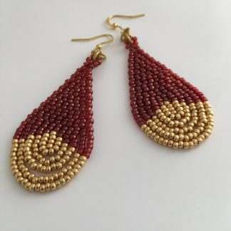 Garnet Gold Beaded Earrings