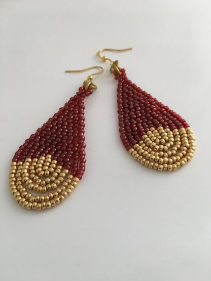 Garnet Gold Beaded Earrings