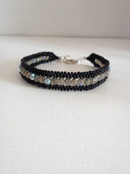 black smoke grey beaded bracelet