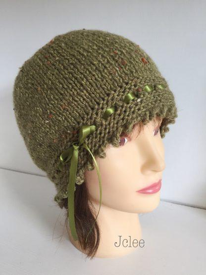 fancy green beanie hat