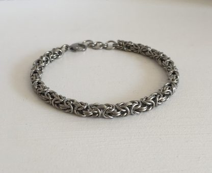 slim steel byzantine mens size