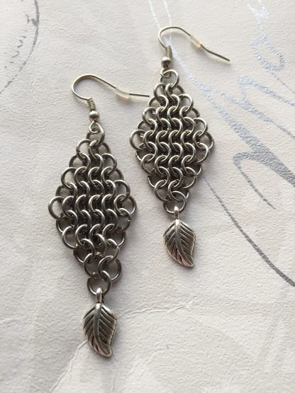steel leaf earrings