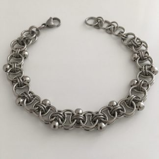 steel beaded helm weave bracelet
