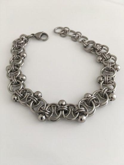 steel beaded helm weave bracelet