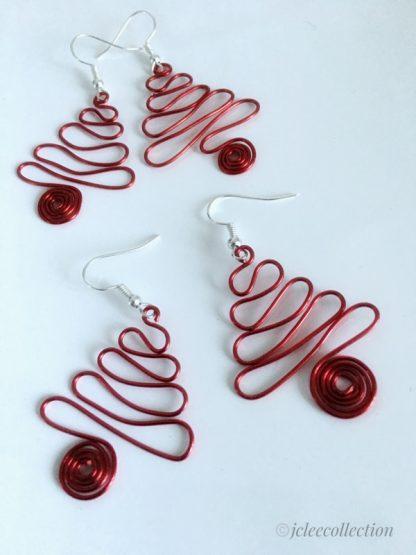 Red Christmas Tree Wire Work Earrings