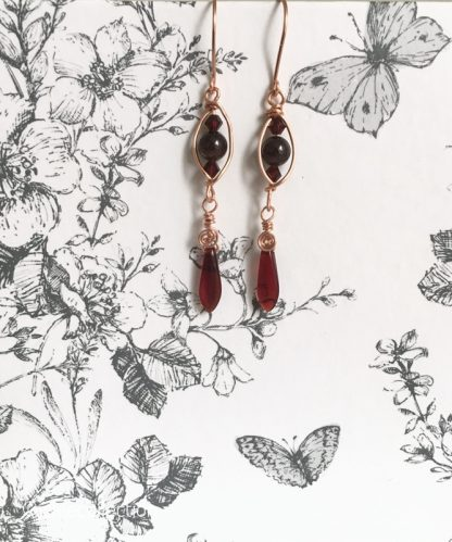 Garnet Copper Dagger Earrings