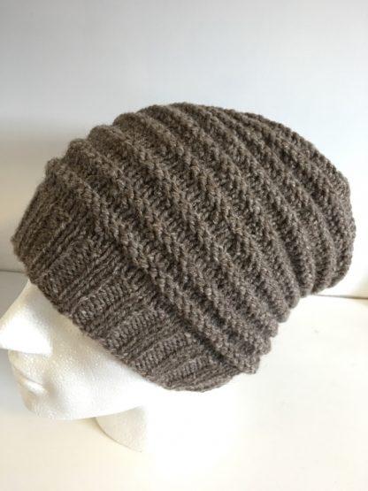 Mens brown textured beanie hat