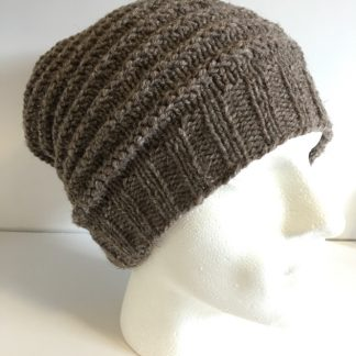 Mens brown textured beanie hat