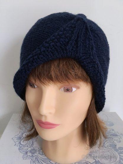 navy blue turban style beanie hat