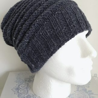 Mens airforce blue textured beanie hat