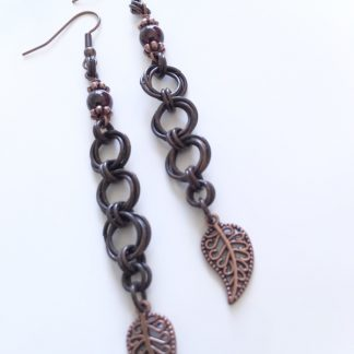 garnet copper earrings