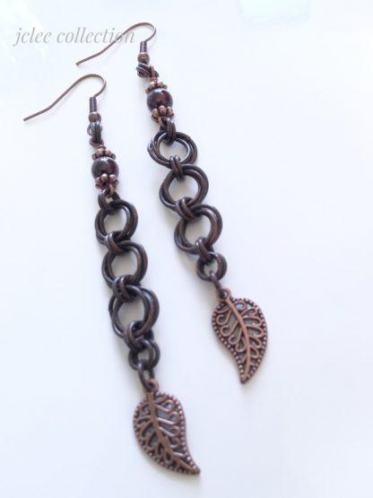 garnet copper earrings