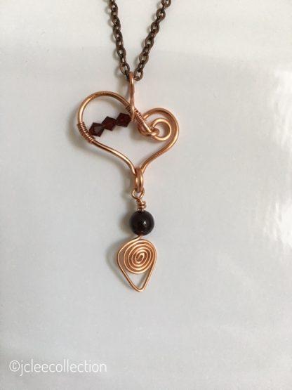 Copper Heart Pendant Necklace