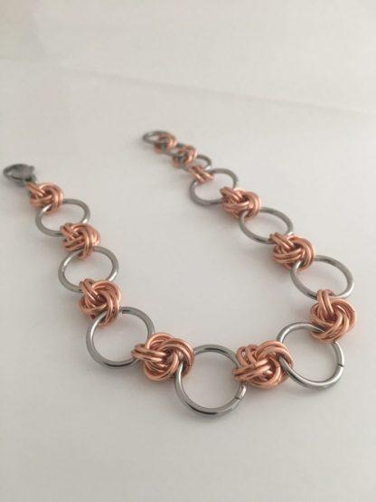 Copper Steel Infinity Knot bracelet