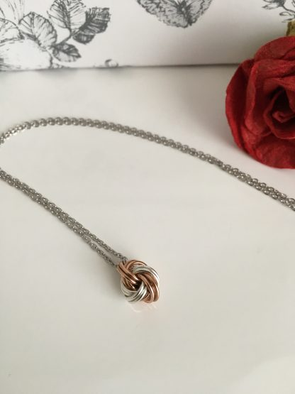 bronze-silver-infinity-knot-ball-necklace
