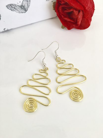 Christmas Tree Earrings Gold