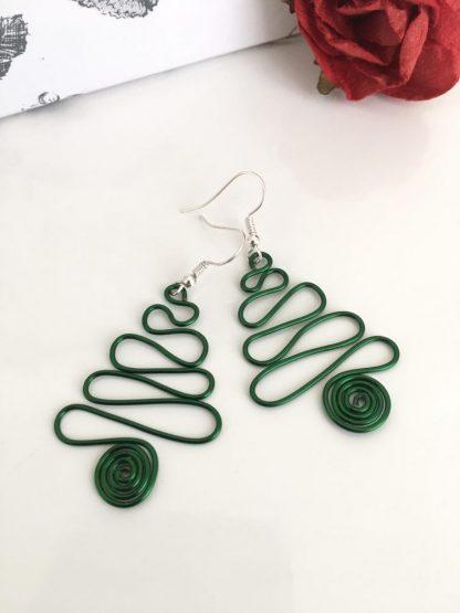 Christmas Tree Earrings Green