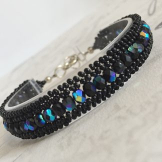Black Herringbone Beaded Bracelet