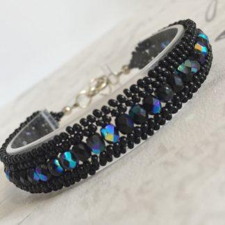 Black Herringbone Beaded Bracelet