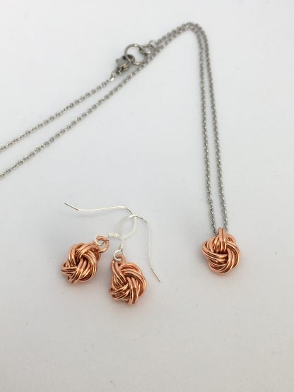 copper love knot jewellery set