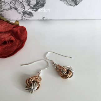 bronze-silver-infinity-knot-ball-earrings-