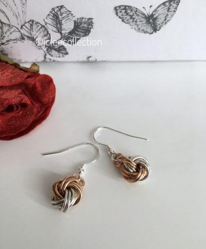 bronze-silver-infinity-knot-ball-earrings-