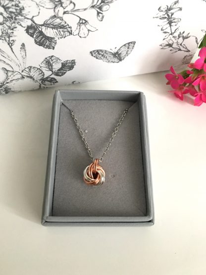 Copper-Silver-Infinity-Knot-necklace