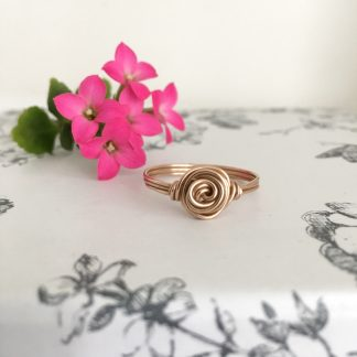 Bronze Rose Swirl Wire Wrapped Ring