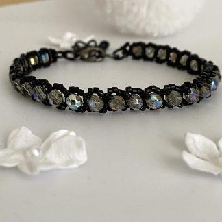 Black-smokey-grey-beaded-tennis-bracelet
