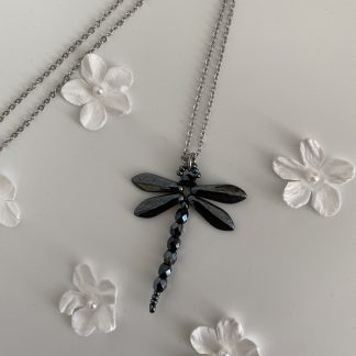 Hematite-grey-dragonfly-pendant-necklace