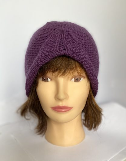 purple-mulberry-turban-style-beanie-hat-hand-knit